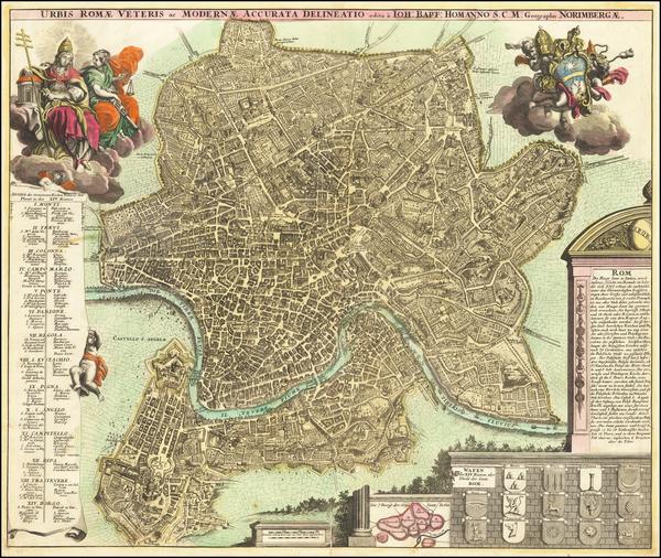 54-Rome Map By Johann Baptist Homann
