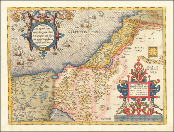 72-Holy Land Map By Abraham Ortelius