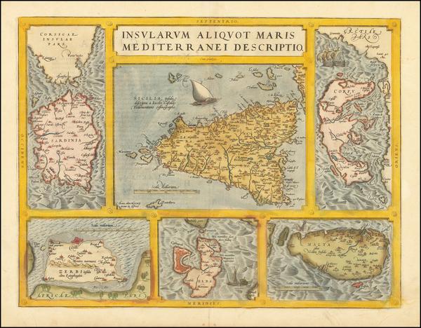 61-Malta, Sardinia, Sicily and Greece Map By Abraham Ortelius