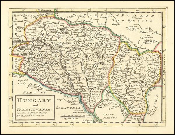 85-Hungary and Romania Map By Herman Moll