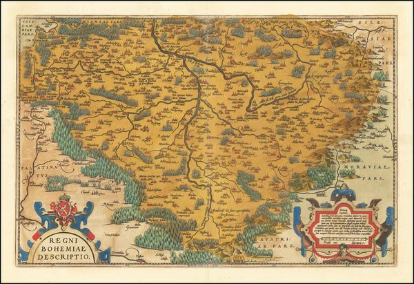 95-Czech Republic & Slovakia Map By Abraham Ortelius
