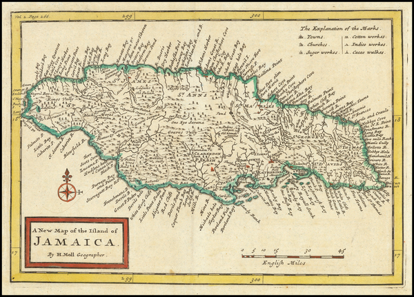 75-Jamaica Map By Herman Moll