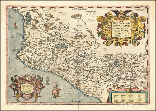 27-Mexico Map By Abraham Ortelius