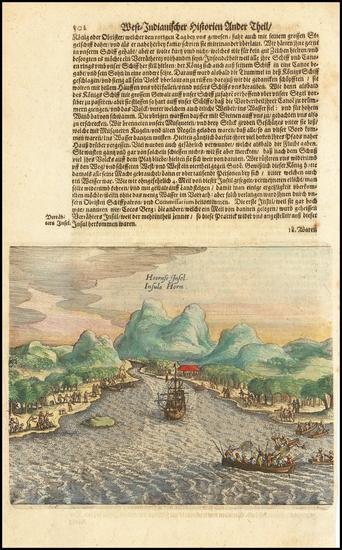 60-Brazil Map By Theodor De Bry / Matthaeus Merian