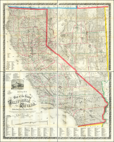 94-Nevada and California Map By Warren Holt  &  S.B. Linton