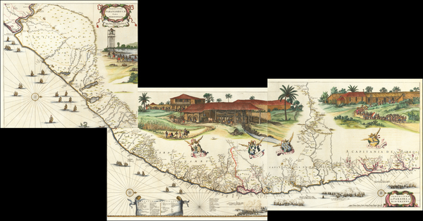 46-Brazil Map By Johannes et Cornelis Blaeu