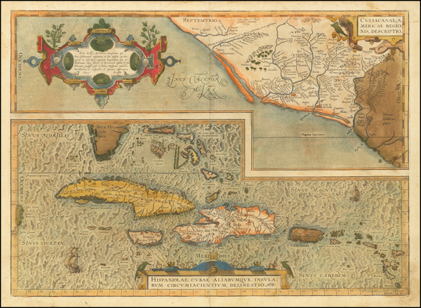 29-Mexico, Caribbean, Cuba, Hispaniola, Puerto Rico and Bahamas Map By Abraham Ortelius