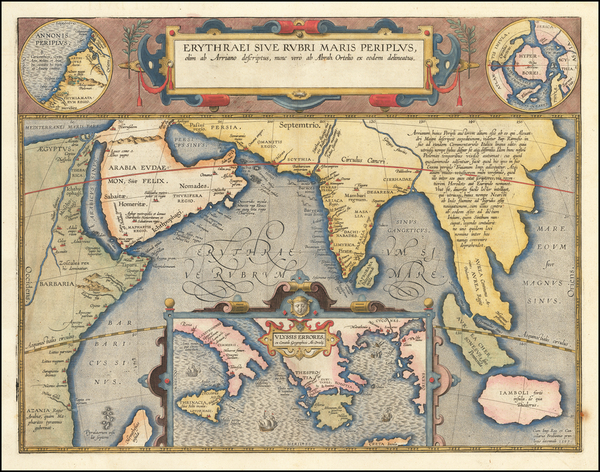 Polar Maps, Indian Ocean, Greece, India, Southeast Asia and Middle East Map By Abraham Ortelius