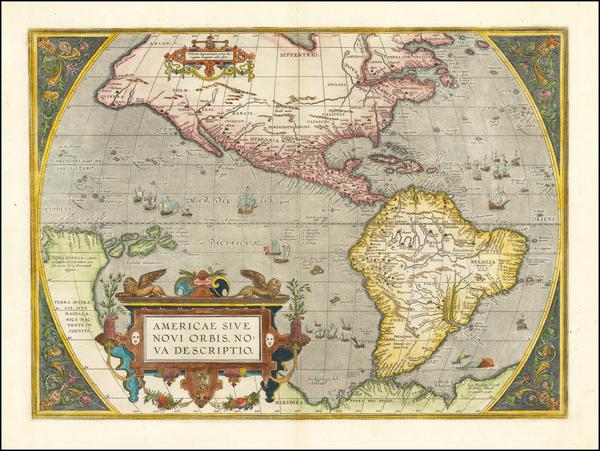 42-Western Hemisphere, North America, South America and America Map By Abraham Ortelius