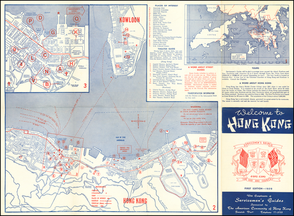 65-Hong Kong Map By Servicemen's Guides
