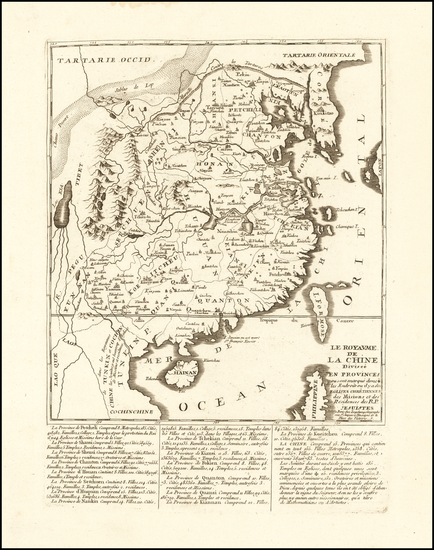 36-China Map By Pierre-Nicolas Buret de  Longchamps