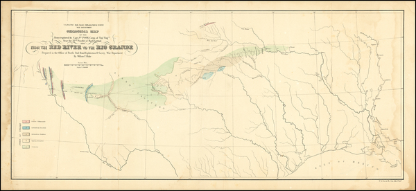 Louisiana, Texas and New Mexico Map By U.S. Pacific RR Surveys