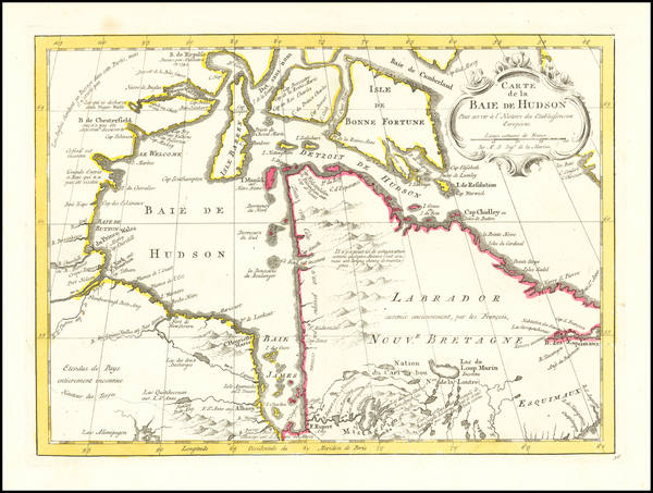 73-Canada Map By Jacques Nicolas Bellin