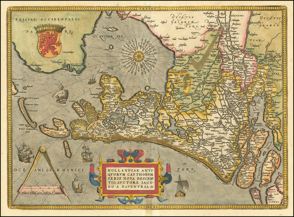 46-Netherlands Map By Abraham Ortelius