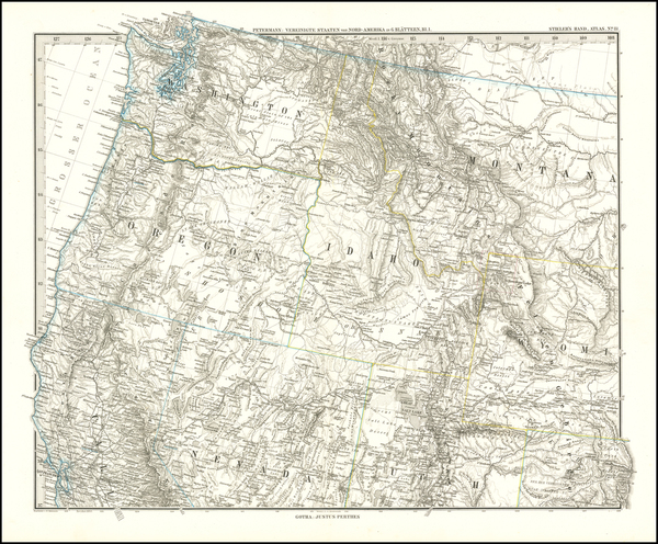 28-Nevada, Idaho, Montana, Utah, Wyoming, Oregon and Washington Map By Adolf Stieler