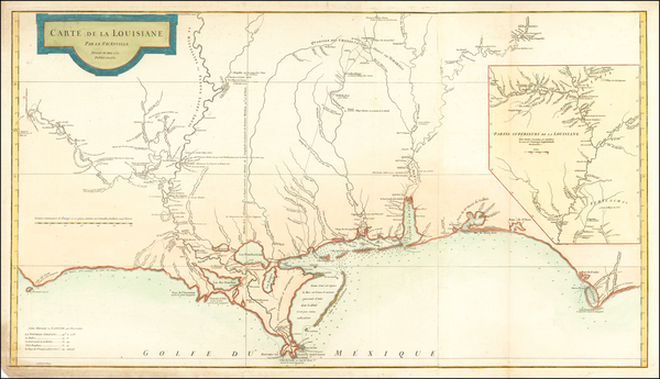 52-South, Louisiana, Alabama and Mississippi Map By Jean-Baptiste Bourguignon d'Anville