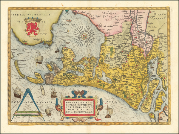 68-Netherlands Map By Abraham Ortelius
