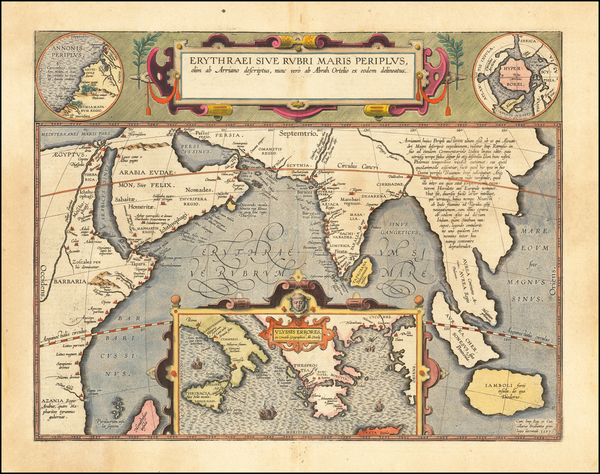 96-Polar Maps, Indian Ocean, Greece, India, Southeast Asia and Middle East Map By Abraham Ortelius