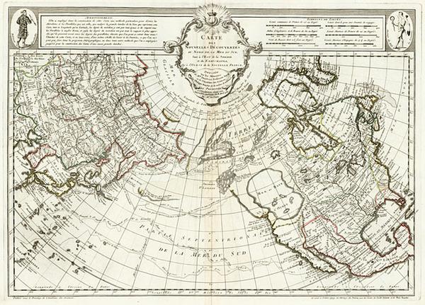 55-Alaska and North America Map By Philippe Buache / Joseph Nicholas De  L'Isle