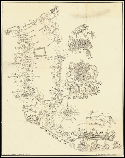 7-New York City and New York State Map By Valentine's Manual