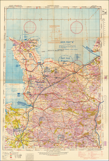 54-France and World War II Map By Geographical Section, War Office (UK)