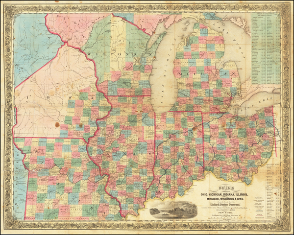 27-Illinois, Indiana, Ohio, Michigan, Wisconsin, Iowa and Missouri Map By Joseph Hutchins Colton /