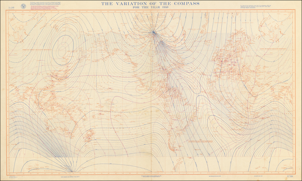 53-World and World War II Map By U.S. Hydrographical Office