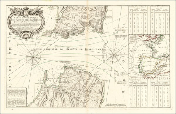 30-England, Spain and Gibraltar Map By Jean de Beaurain