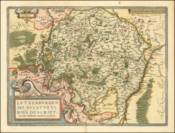 34-Luxembourg Map By Abraham Ortelius