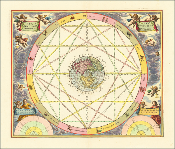 4-Northern Hemisphere, Polar Maps and Celestial Maps Map By Andreas Cellarius