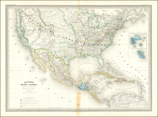 45-United States and Mexico Map By Adolphe Hippolyte Dufour