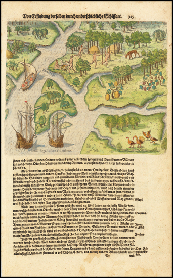 81-Southeast and South Carolina Map By Theodor De Bry / Matthaus Merian