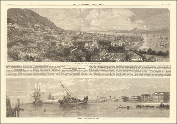 90-China and Hong Kong Map By Illustrated London News