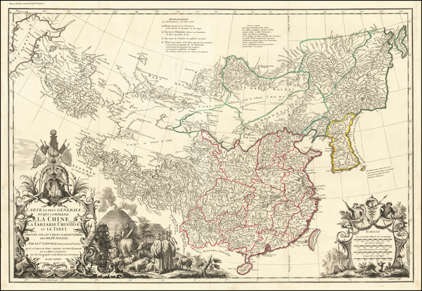 84-China, Korea and Central Asia & Caucasus Map By Jean-Baptiste Bourguignon d'Anville