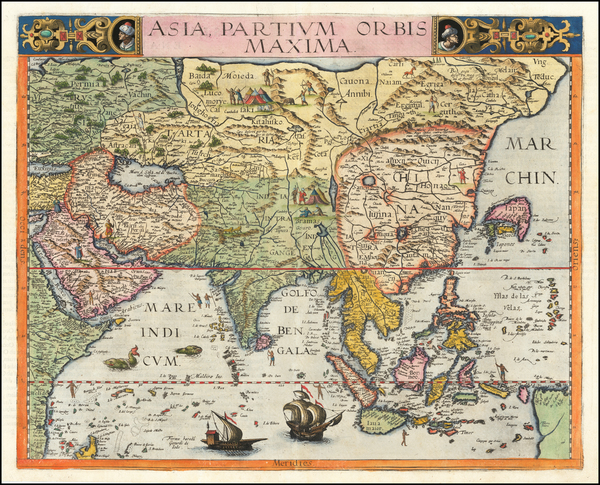 Indian Ocean, Asia, China, India, Southeast Asia, Philippines, Indonesia and Middle East & Holy Land Map By Gerard de Jode