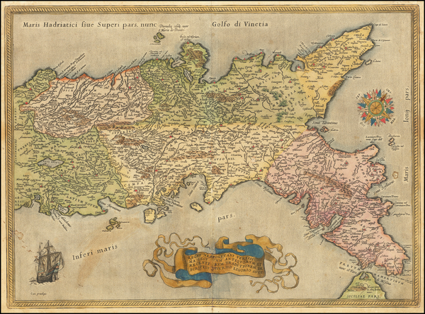 55-Southern Italy Map By Abraham Ortelius