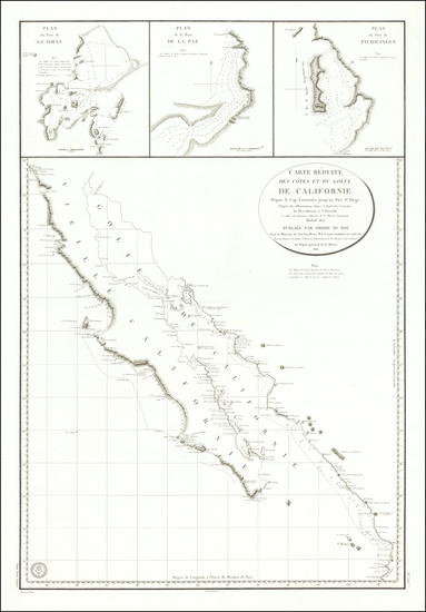 83-Mexico, Baja California and California Map By Depot de la Marine