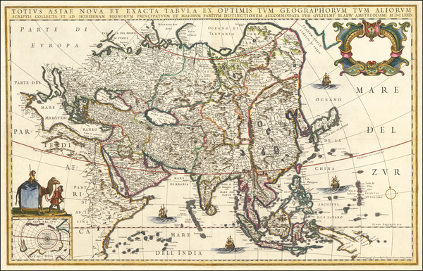 96-Asia Map By Willem Janszoon Blaeu / Giacomo Giovanni Rossi