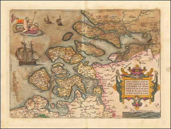 87-Netherlands Map By Abraham Ortelius