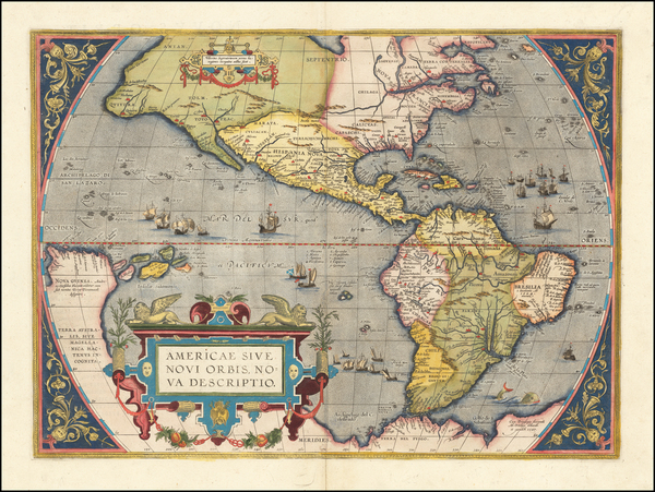 58-Western Hemisphere, North America, South America and America Map By Abraham Ortelius