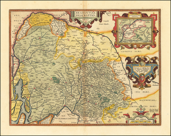 37-Netherlands and Belgium Map By Abraham Ortelius