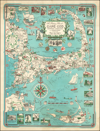 54-New England, Massachusetts and Pictorial Maps Map By Ernest Dudley Chase