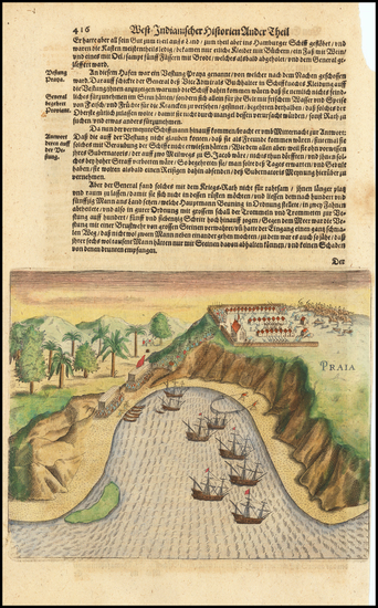 72-Atlantic Ocean and African Islands, including Madagascar Map By Theodor De Bry / Matthaus Meria
