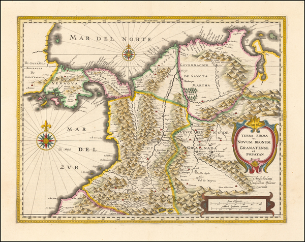 81-Colombia Map By Willem Janszoon Blaeu