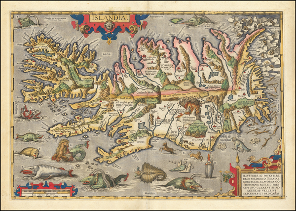 18-Iceland Map By Abraham Ortelius