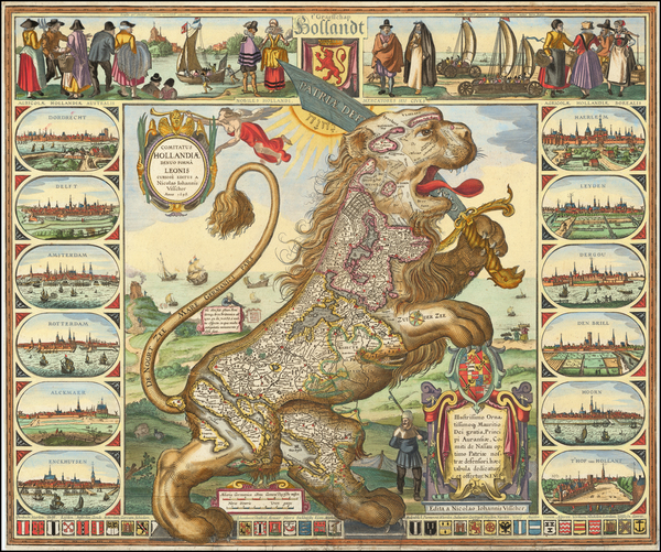 18-Netherlands, Belgium and Curiosities Map By Claes Janszoon Visscher