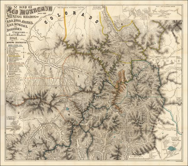 92-Southwest, Colorado, Rocky Mountains and Colorado Map By Emil B. Fischer