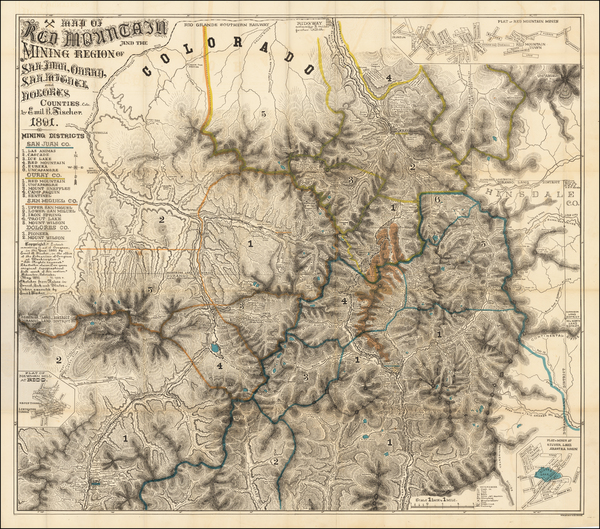 57-Southwest, Colorado, Rocky Mountains and Colorado Map By Emil B. Fischer