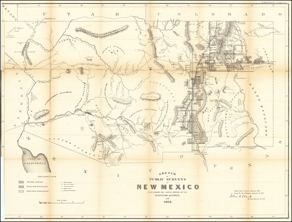 96-Arizona and New Mexico Map By U.S. General Land Office