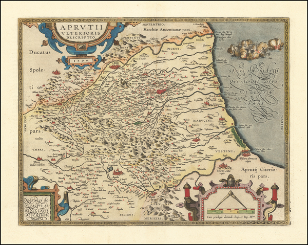 6-Northern Italy and Southern Italy Map By Abraham Ortelius